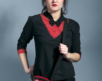 "top tunic blac and white polka dot  ""JANIS"""