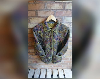 Vintage paisley and floral print quilted jacket