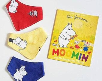 Red Yellow Cream Blue Moomin Finland bandana baby bib