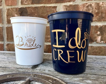 I Do Crew Cups   Bachelorette Party Cups 16 0z   Bridal Party Stadium Cups   Navy BLUE I Do Crew Cup ON SALE!!!