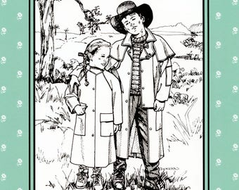 Folkwear Child's Australian Drover Coat / Duster Sewing Pattern # 138 & Knitted Sweater Pattern Sizes 6X-14