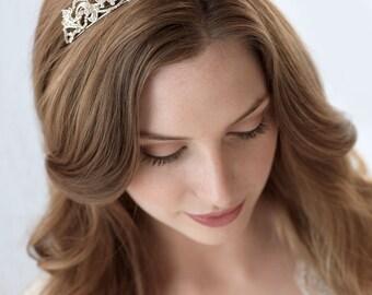 Silver Rhinestone Tiara,Bridal,Rhinestone Bridal Crown,Wedding Crown, Princess Tiara, Royal Wedding Tiara, Vintage Bridal Headpiece ~TI-3157