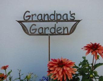 SHIP NOW - Grandpa's Garden Sign - Metal outdoor sign