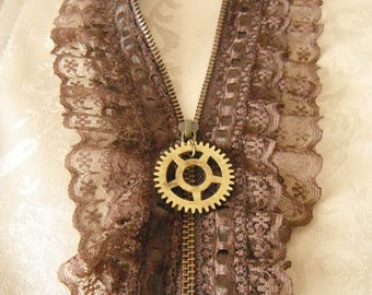 Zipper and lace necklace