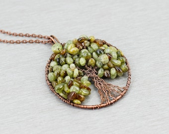 Family tree necklace Tree of life pendant Garnet jewelry Mother in law gift for sister gift for new mom gift for wife gift for grandma gift