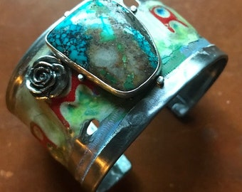New Mexico Farm Truck and Rose License Plate Cuff