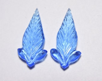 2 Pcs Very Attractive Tanzanite Blue Quartz Hand Carved Leaves Shape Gemstone Beads Size 30X15 MM