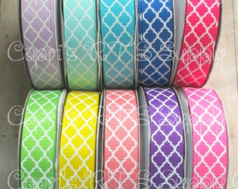 "7/8"" White Ink Printed Quatrefoil Filler Lavender Aqua Blue Pink Green Yellow Coral Purple US Designer Grosgrain Ribbon"