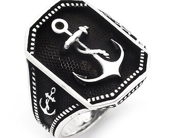 925 Sterling Silver Anchor Ring For Men