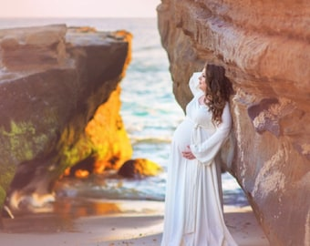 Plus Size Maternity Maxi Photography Dress or Wedding-Renaissance Inspired-On/Off Shoulder Belled Sleeves-Natural Jersey-XL,XXL,3X,4X,5X,6X