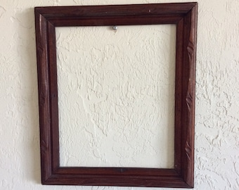 Antique Carved Oak Wooden Frame Without Glass / 1800s Wooden Picture Frame