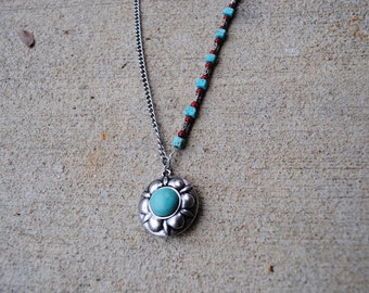 Long turquoise and red necklace and navajo turquoise pendant