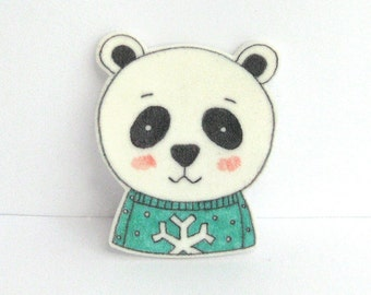 Bear with Sweater Brooch. Panda Bear Pin