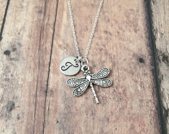 Dragonfly initial necklace - dragonfly jewelry, insect jewelry, insect necklace, damselfly necklace, bug jewelry, silver dragonfly pendant