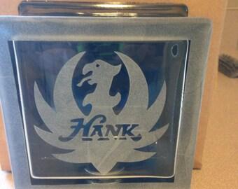 Hank jr etched glass block