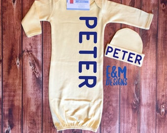 Baby Boy Coming Home Outfit/ Personalized Infant Baby Gown and Hat/ Monogrammed Baby Boy/ Baby Shower Gift/ Newborn Pictures/Yellow and Navy