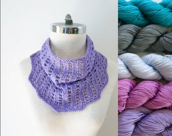 Cotton Summer Scarf, Summer infinity scarf, purple infinity scarf, order in purple, gray, turquoise, light blue and pink, woman's scarf