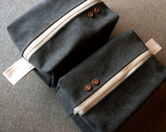 Gray Canvas Dopp Kit or Zipper Pouch with Leather and Button Accents