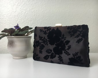 50's Black Floral Clutch