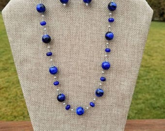 Navy blue with black swirls floating beads necklace and earrings set
