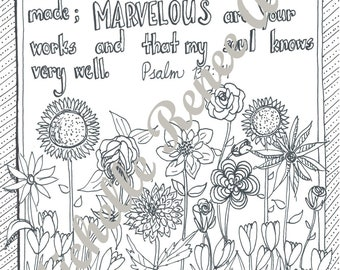 Bible Verse Coloring Page: Psalm 139.14 Digital Instant Download
