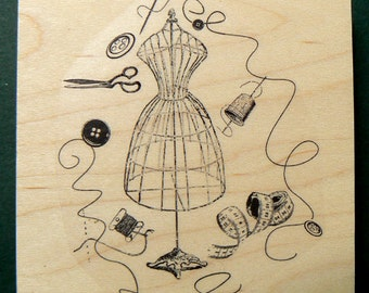 Dress form collage rubber stamp WM P22