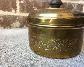 Brass Canister With Lid - Fancy Metalwork Pattern