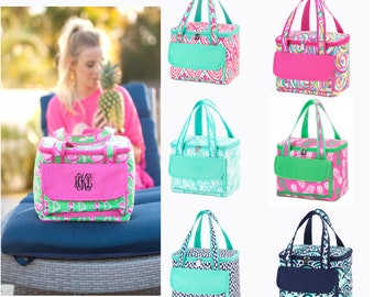 Hot Pink and Mint Cooler Tote, Personalized Lunch Cooler Tote, Personalized Lunch Bag Insulated Lunch Bag Adult Lunch Bag Monogram Lunch Bag