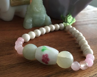 Howlite and Rose Quartz Tassel Mala