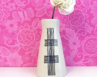 Black Cross Hatched Vase