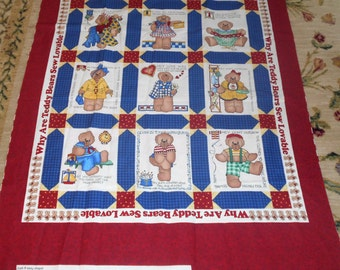 """DAISY KINGDOM """"Why are bears sew lovable"""" Quilt Top"""