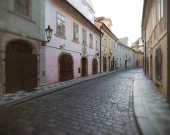 Cobblestone Street in Lesser Town Prague Photography, Pink, Green, Blue, Beige, Yellow, Doorways, Wall Art, Home Decor, - Prague in Pastels