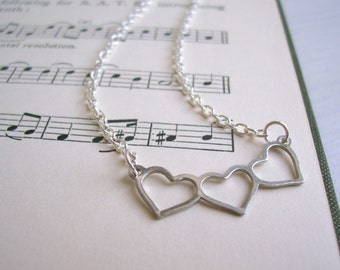 Silver Heart charm necklace - sweetheart charm - dainty heart row on silver - nickel free - SALE