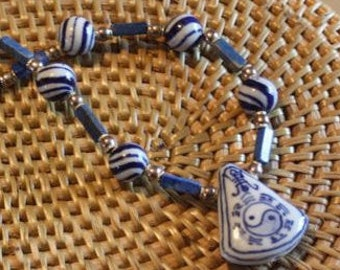 Necklace:  Asian Yin Yang blue hand painted Chinese ceramic necklace  sterling silver beads