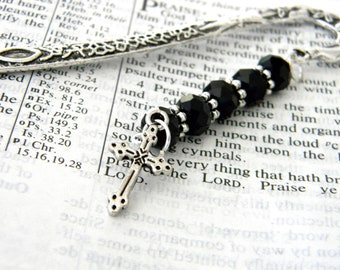 Cross Bookmark with Black Glass Beads Silver Color Shepherd Hook Christian Bookmark