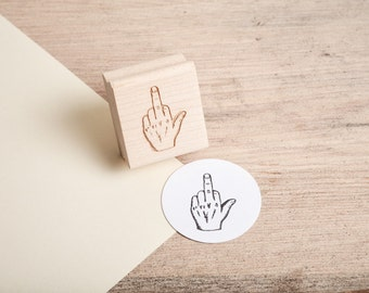 Middle Finger Rubber Stamp - Mature Content