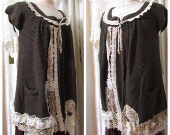 Brown Bohemian Sweater, shabby tattered lace doily embellishment, upcycled refashioned sweater