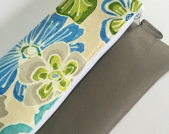 Grey, Blue and Green Floral Fold Over Clutch, Clutch Purse, Vinyl Fold Over Clutch
