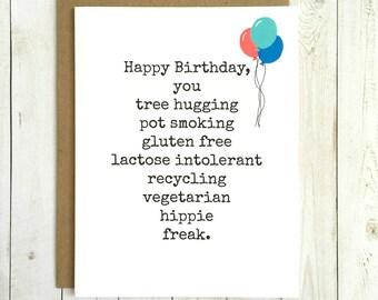Funny Birthday Card, Funny Birthday Card For Her, Funny Birthday Card For Him, Funny Birthday Card Friend, Tree Hugger Card, Vegetarian Card
