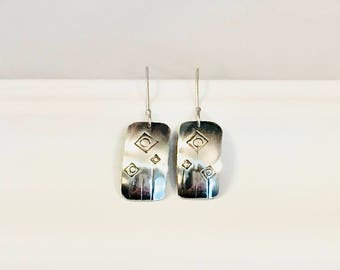 sterling silver earring - hand stamped earring - silver dangle earring - abstract flower - sterling earring - stamped silver earring -