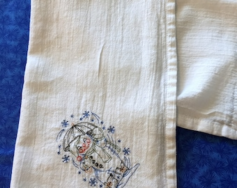 Made to Order Flour Sack Towel Embroidered Snowman with Umbrella