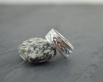 Silver Celtic Band - Silver Braided Weaved Viking Ring - Simple Irish Jewelry - Tribal Style Crisscross