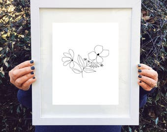Single Stem Flower Print