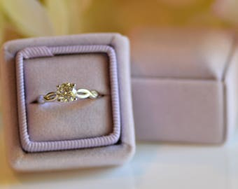 Misty Lilac Vintage Inspired Ring Box Grossgrain Ribbon Handmade for Wedding Rings, Engagement Rings, Fine Jewelry