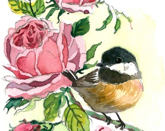 ACEO Limited Edition 8/25- Chickadee and roses, Chickadee bird art print of an original ACEO watercolor painting by AnnaLee, Small gift idea