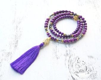 Purple Beaded Tassel Necklace // Very Long Stone Necklace // Bohemian Jewelry // Buddha Head Tassel // Long Purple Rock Necklace