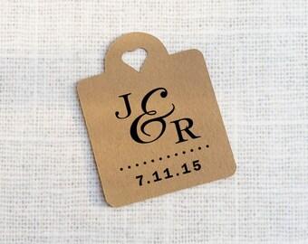 Monogram Wedding Favor Kraft Paper Tags, Heart Die-cut Custom Gift Tags - Set of 25 - wedding decoration - wedding favor tags
