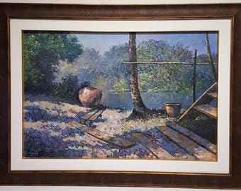 A large oil painting on canvas landscape signed and dated