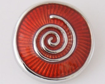 1 PC 18MM Red Swirl Enamel Silver Candy Snap Charm kb7845 CC3227