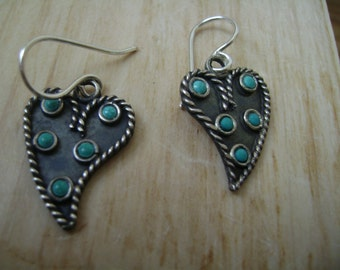 vintage sterling and turquoise earrings, upcycled